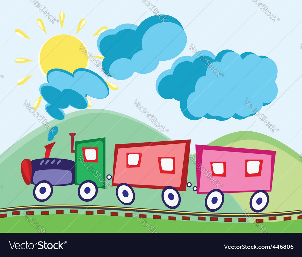 Steam locomotive and waggons vector