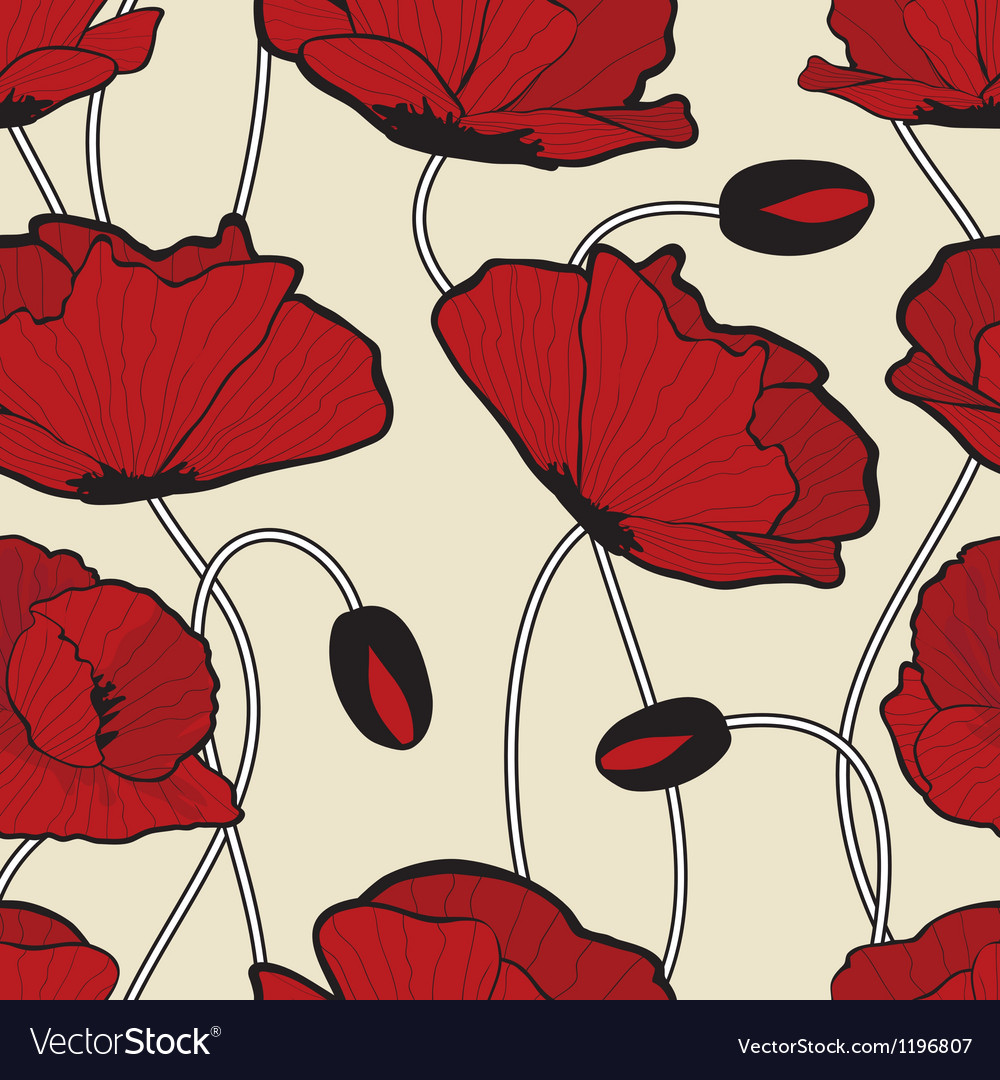 Red poppy flowers pattern vector