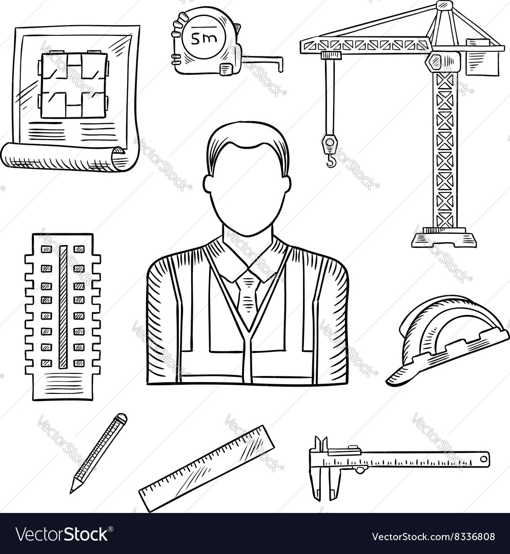 Builder or engineer profession sketches vector