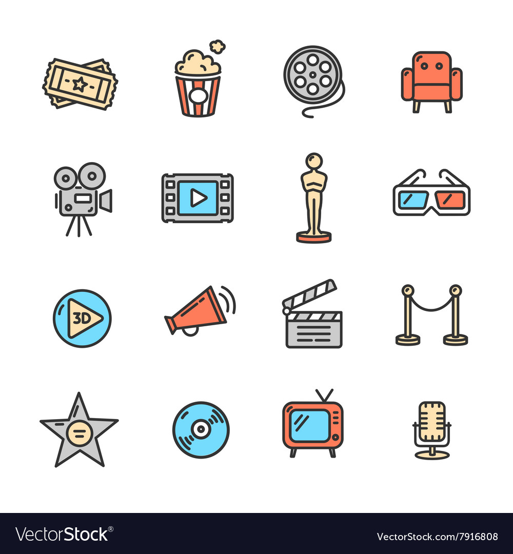 Cinema colorful outline icon set vector