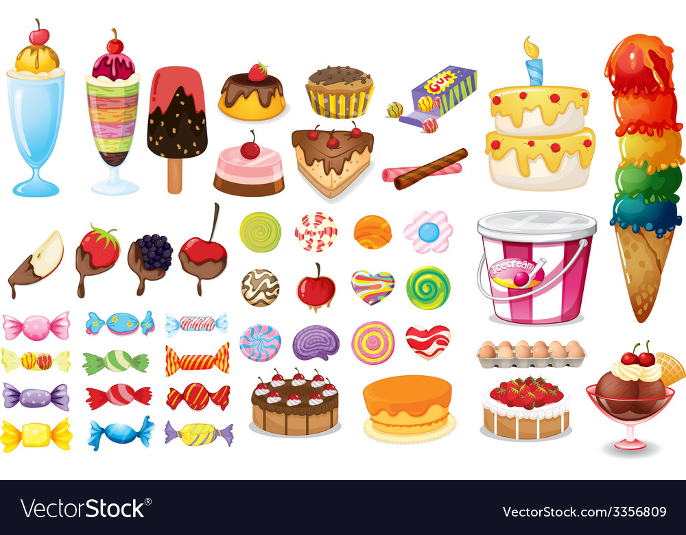 Assorted desserts and sweets vector