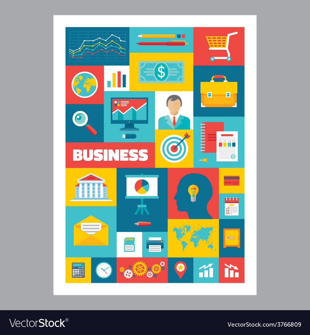 Business  mosaic poster with icons in flat design vector
