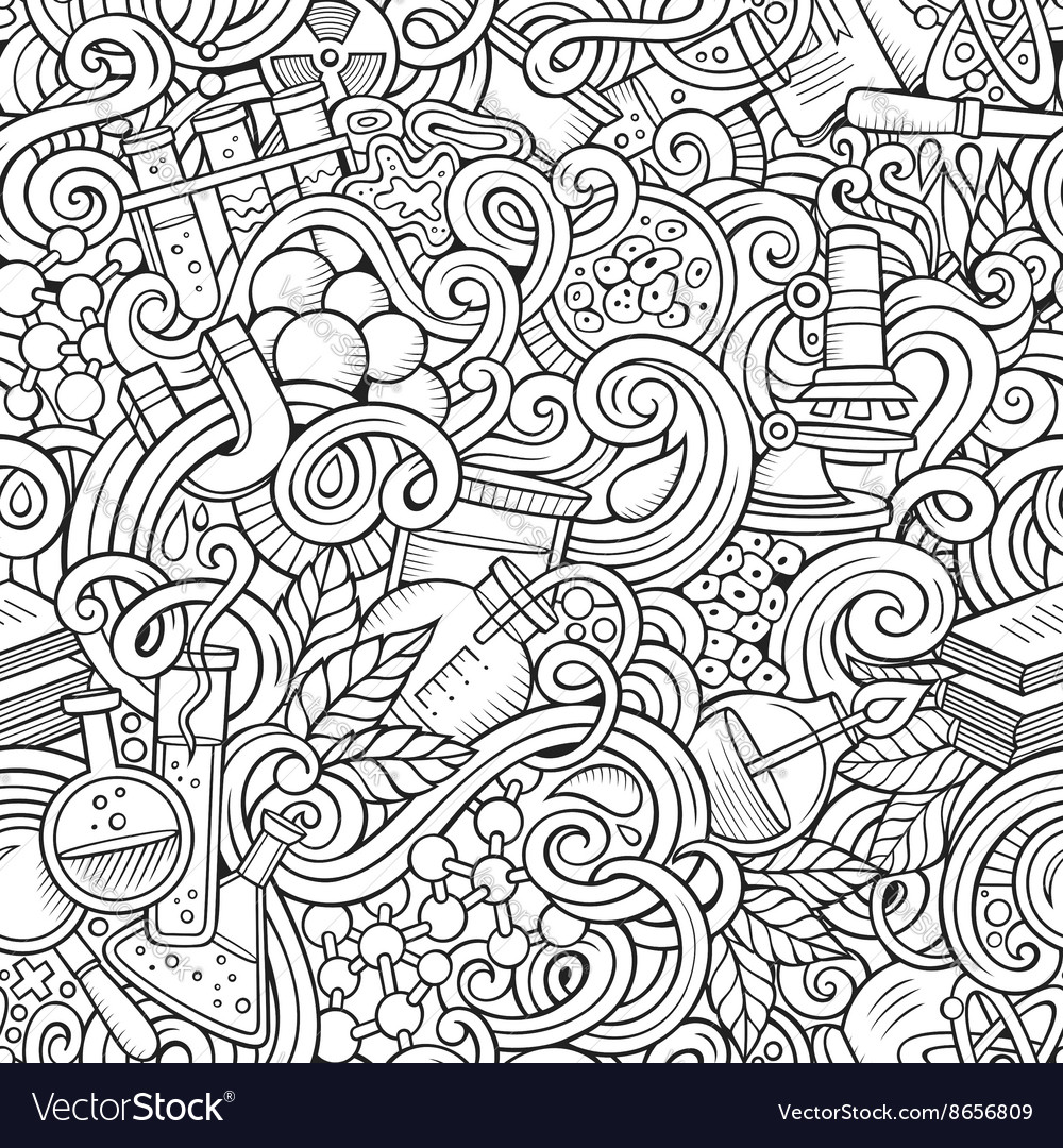 Cartoon handdrawn science doodles seamless vector