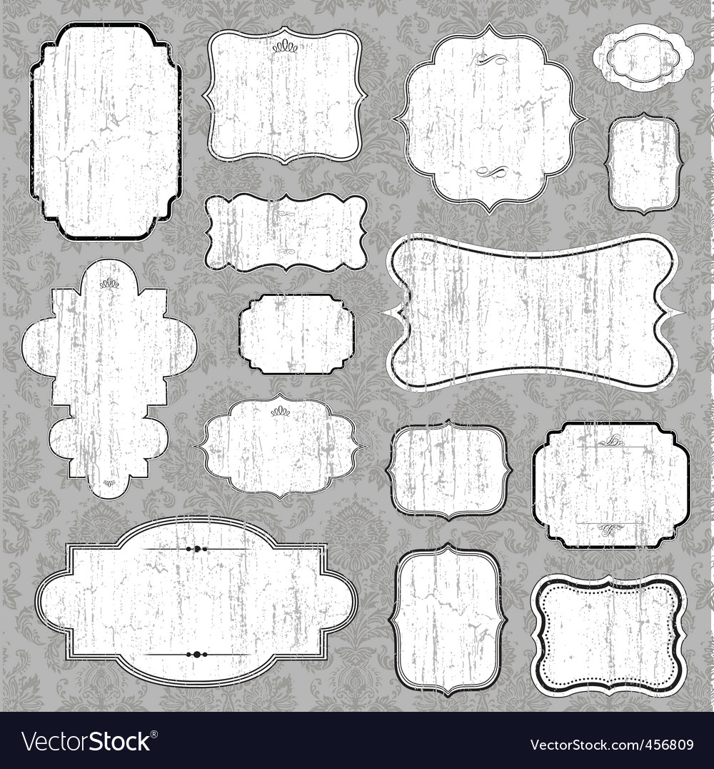 Distressed blank frame set vector