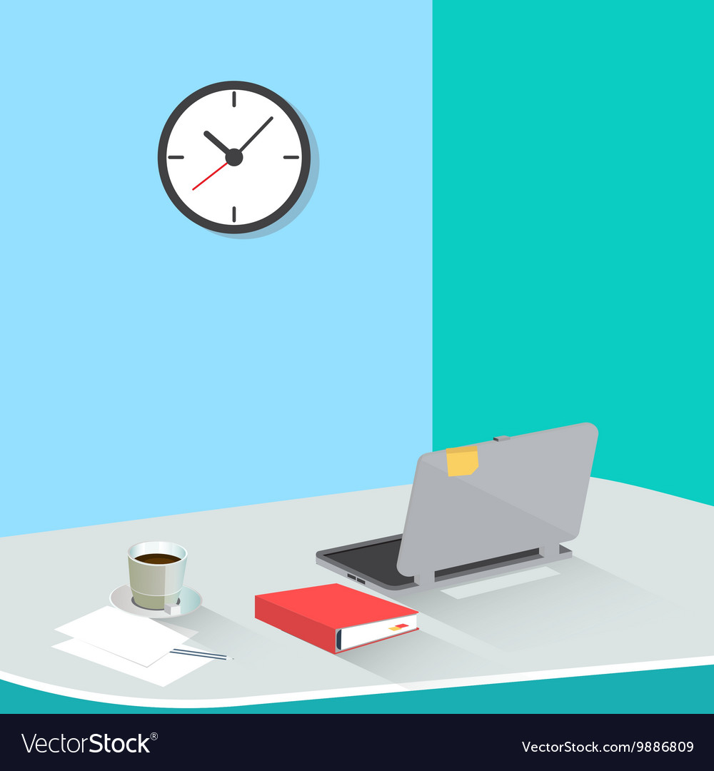 Office work place with laptop and coffee vector