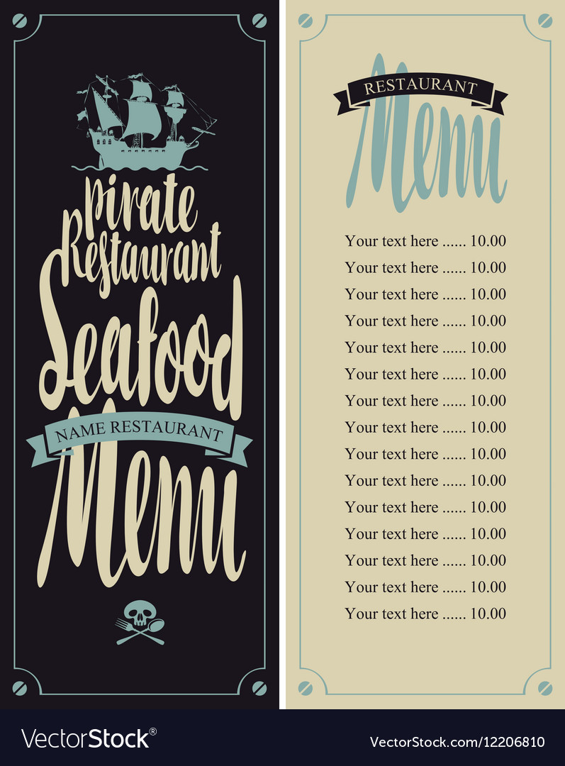 Menu pirate restaurants vector