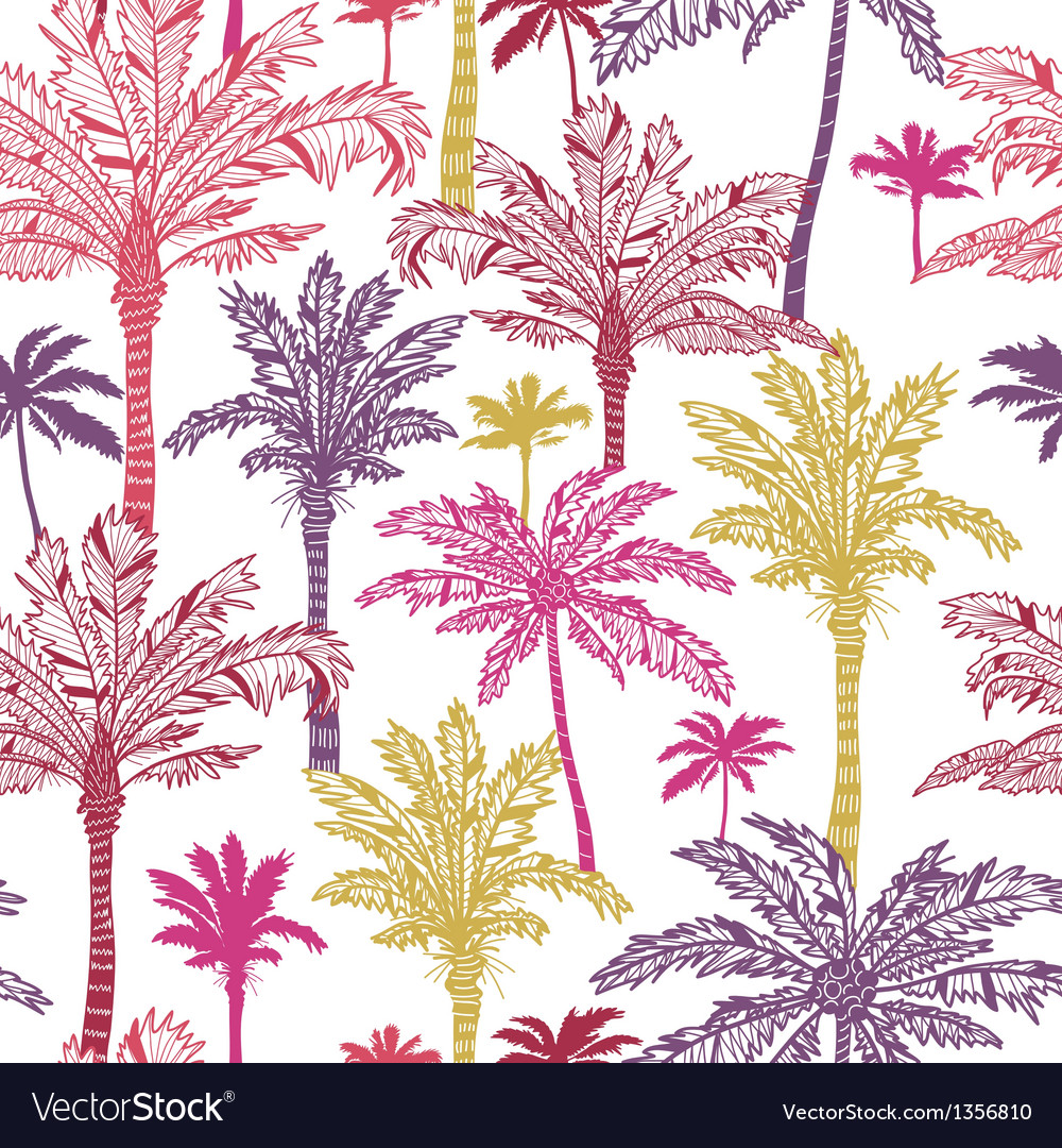 Palm trees seamless pattern background vector
