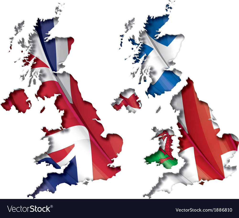 Uk flag map inner shadow vector