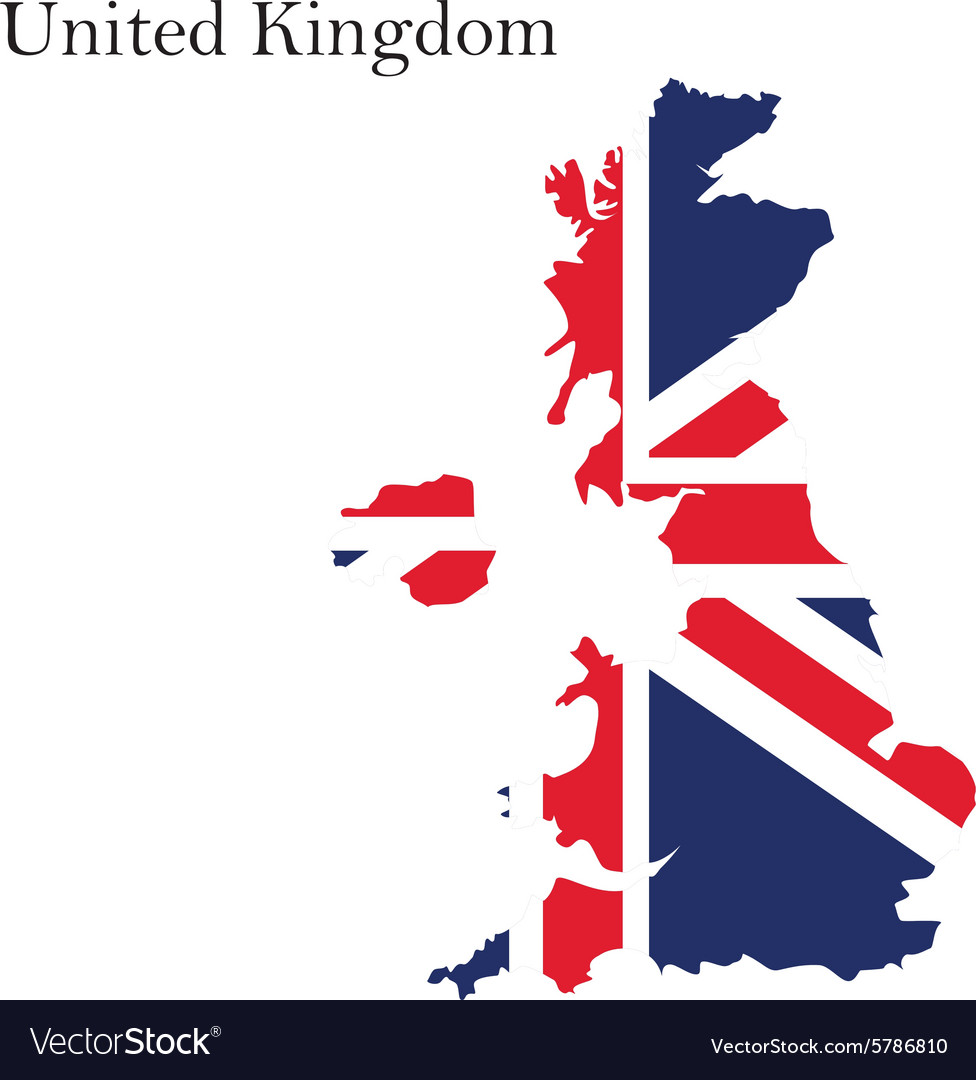 Uk map flag vector