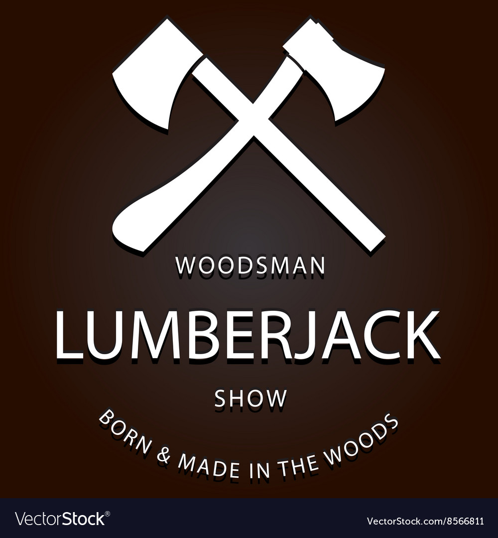 Lumberjack logo label with axes vector