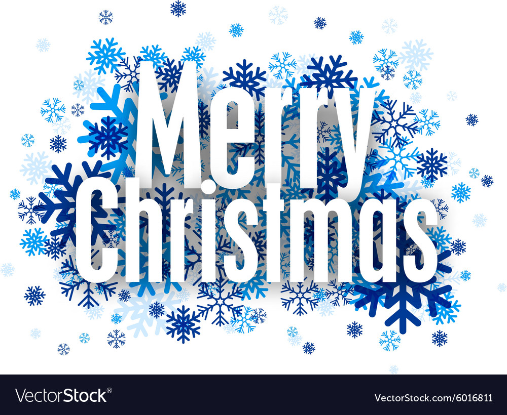 Merry christmas paper sign over snowflakes vector