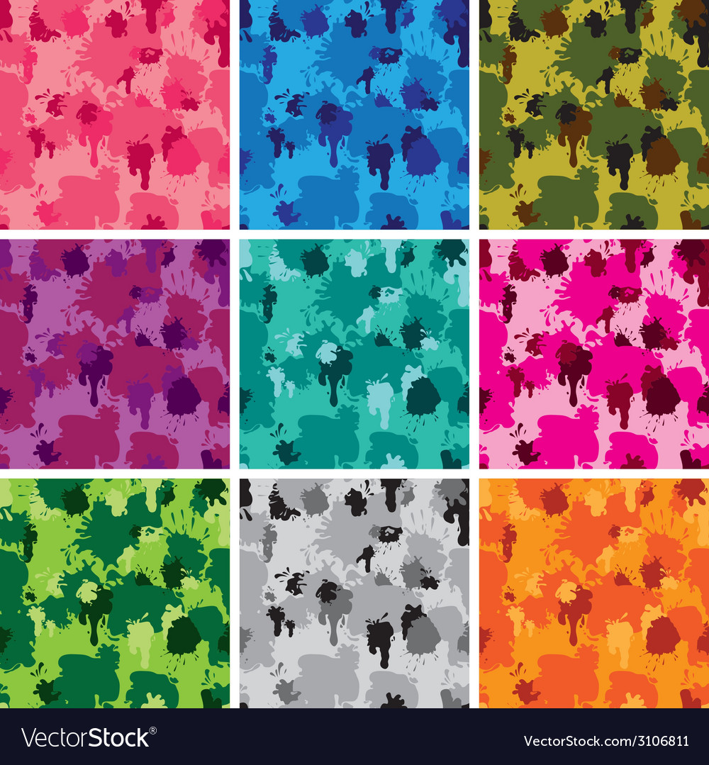 Set of camouflage fabric patterns  different colo vector