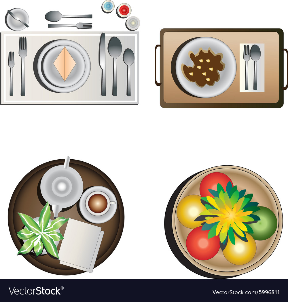 Table decoration top view set 1 vector