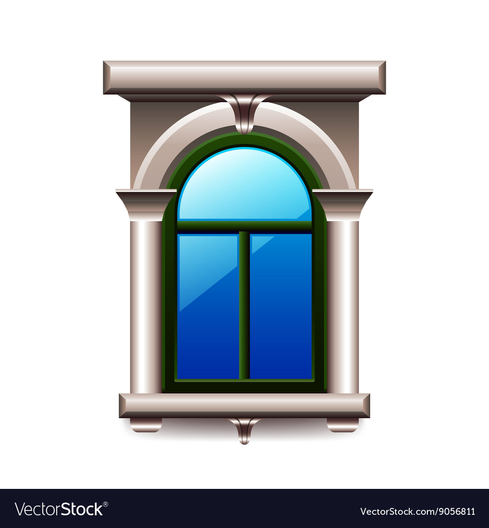 Vintage window with columns isolated vector