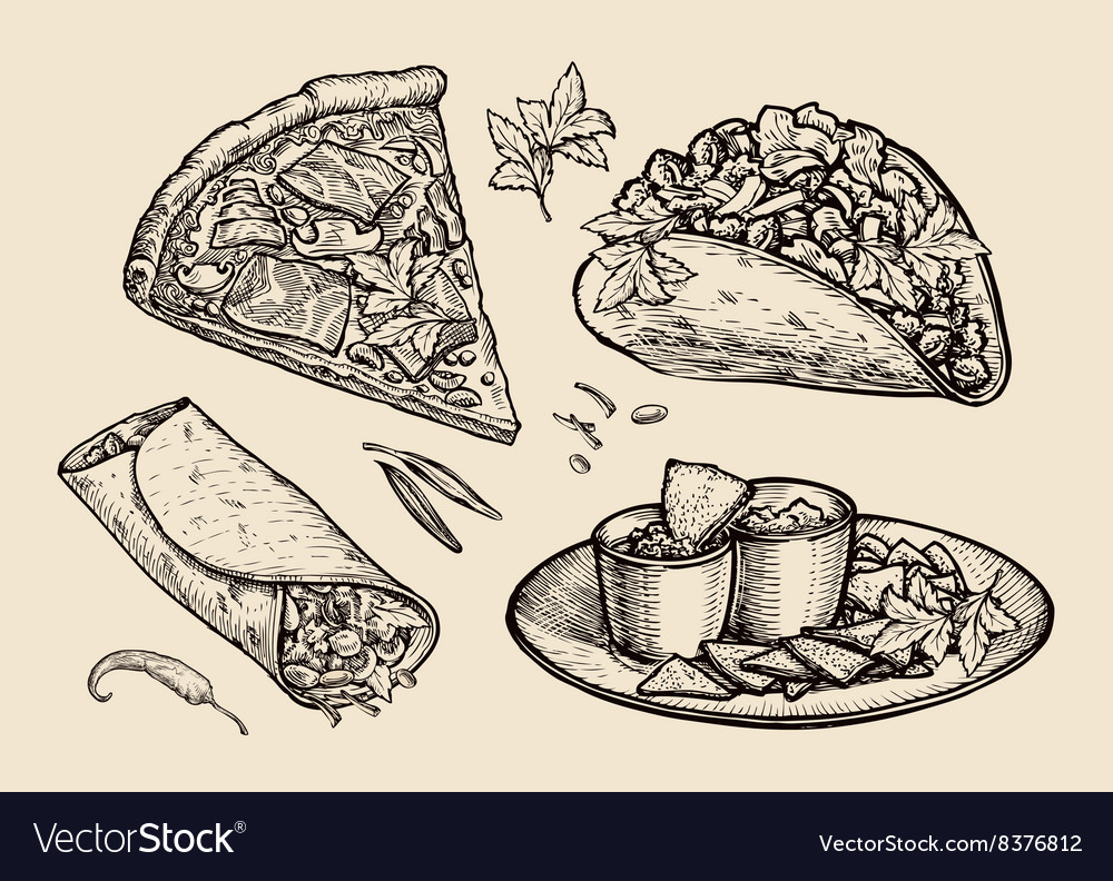 Fast food hand drawn pizza sandwich tacos vector