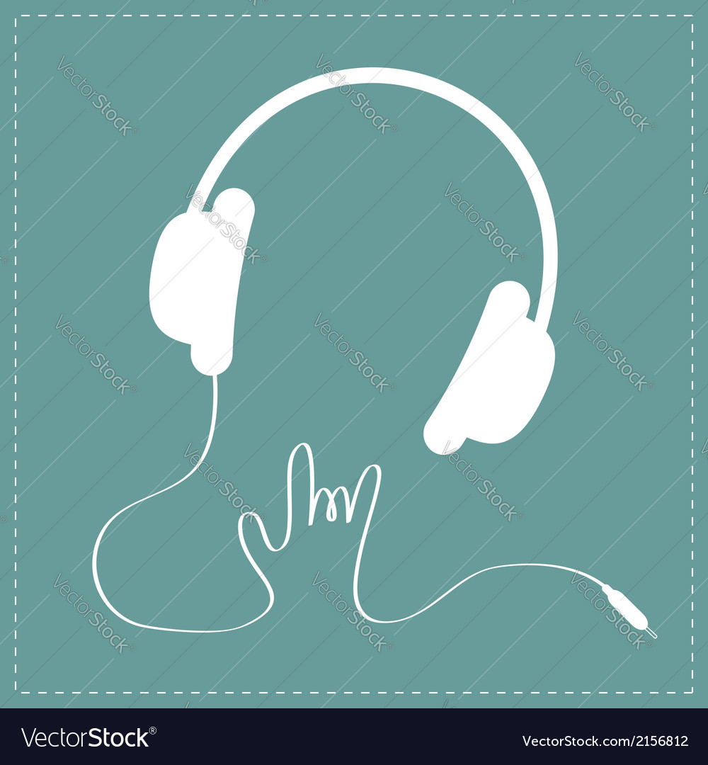 Headphones cord in shape of hand rock and roll vector