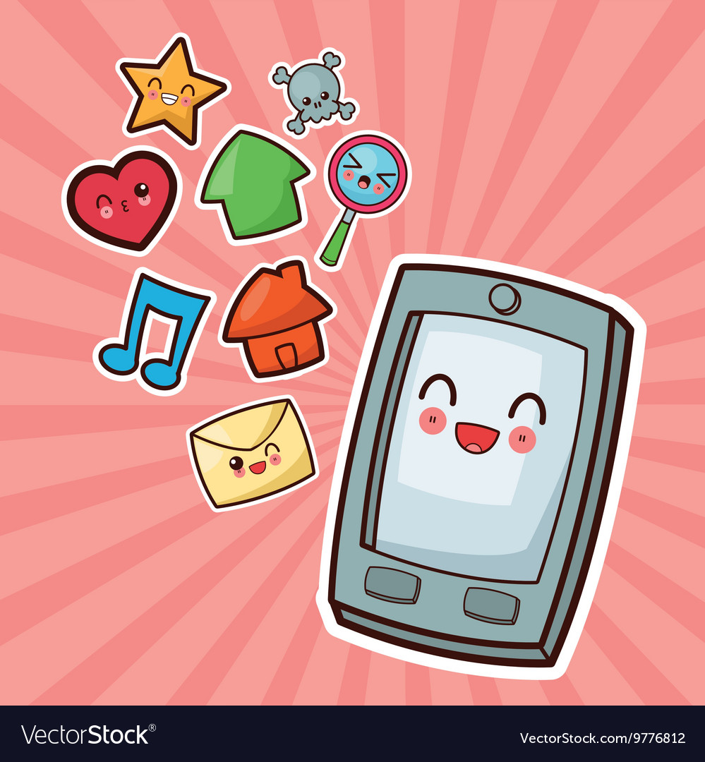 Kawaii cartoon technology and social media vector