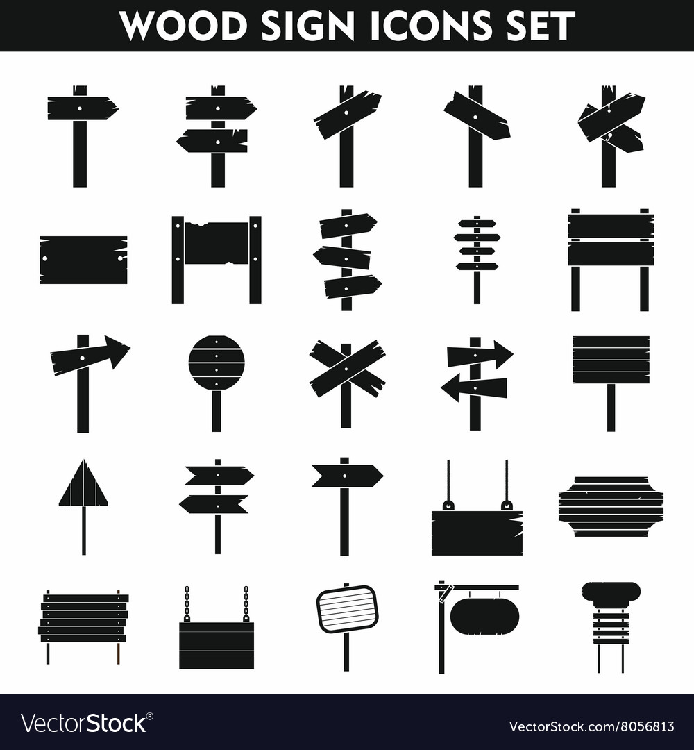 Wood sign icons set on white background vector
