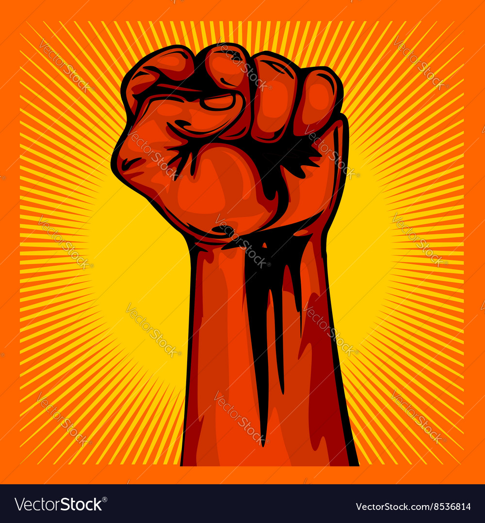 Hand up proletarian revolution  fist of vector