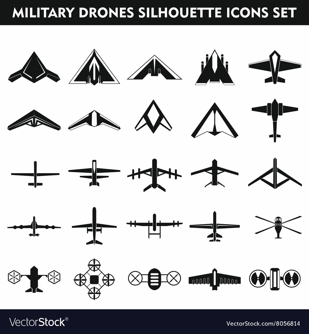 Set icons of drone isolated on white vector
