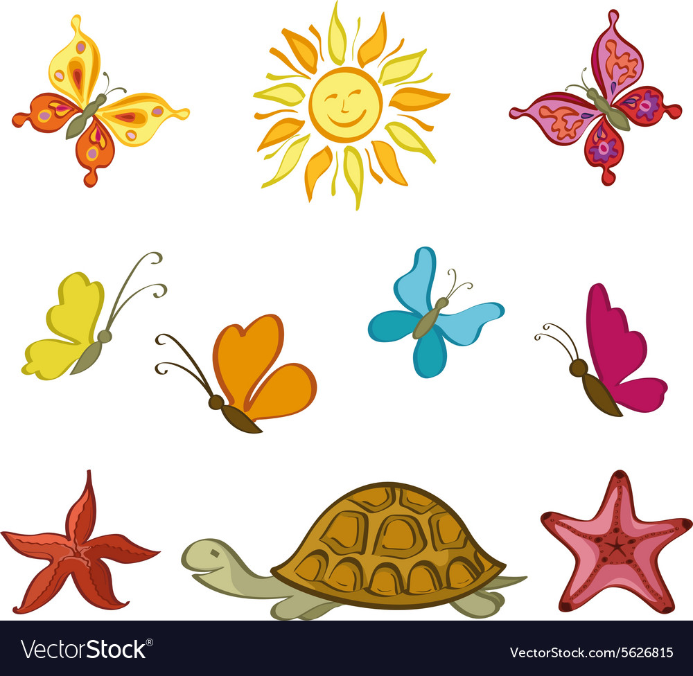 Sun butterflies turtle and starfish vector