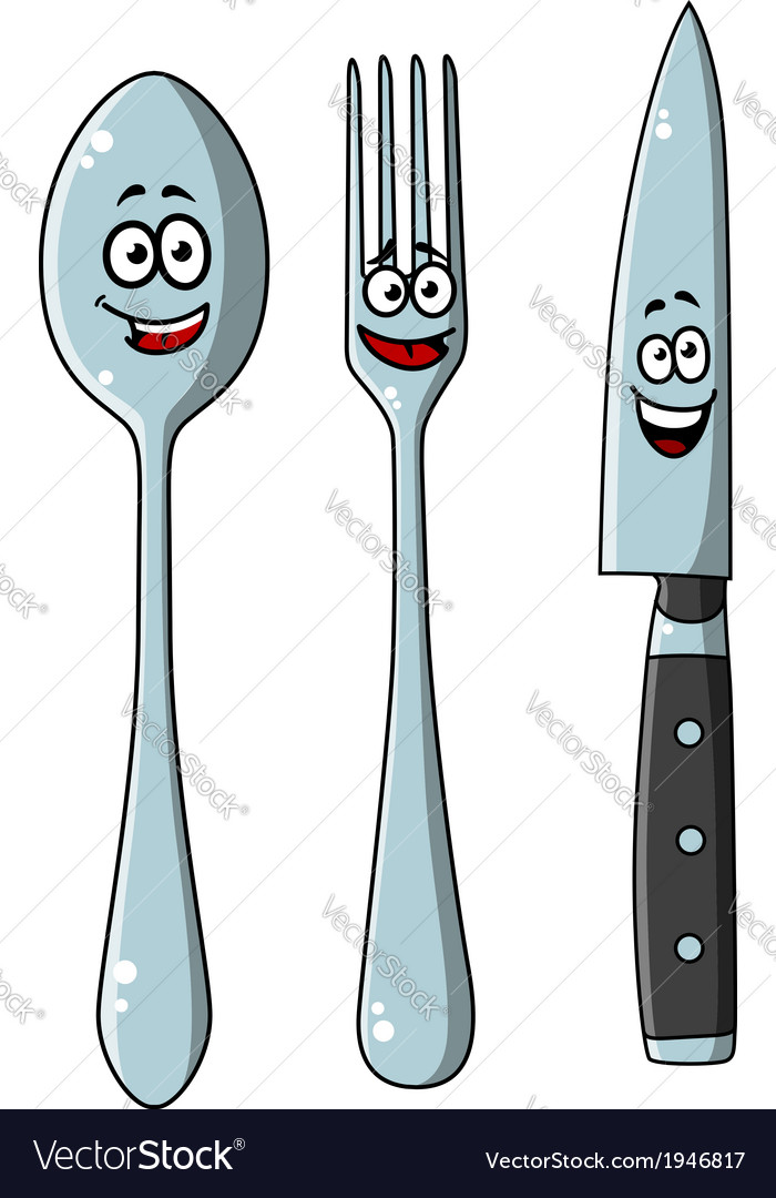 Happy laughing cartoon cutlery set vector