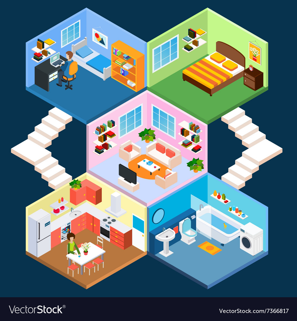 Multistory isometric interior vector