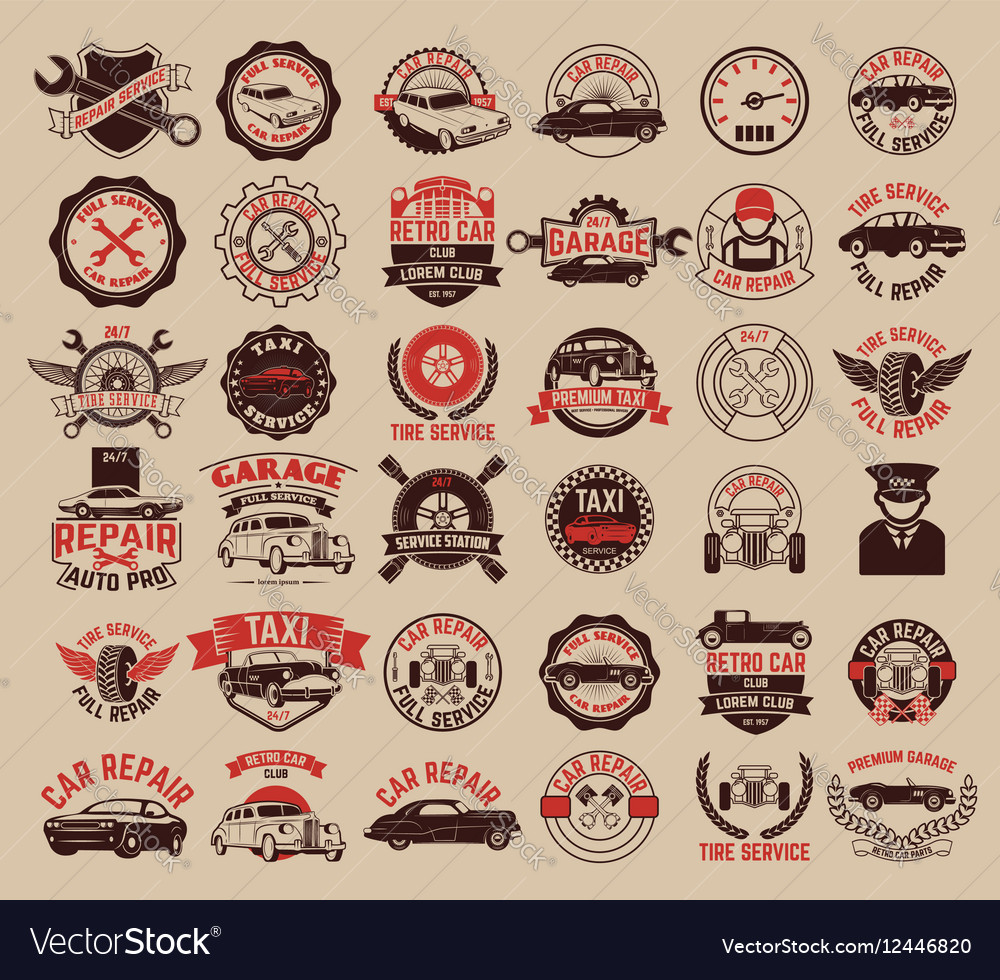 Big set of car service taxi tire service labels vector