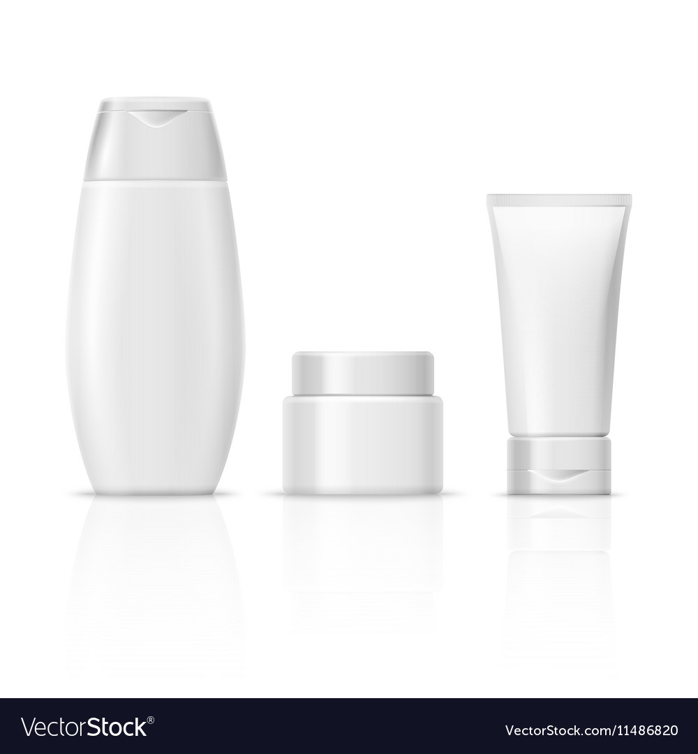 Blank white cosmetics product packaging set vector