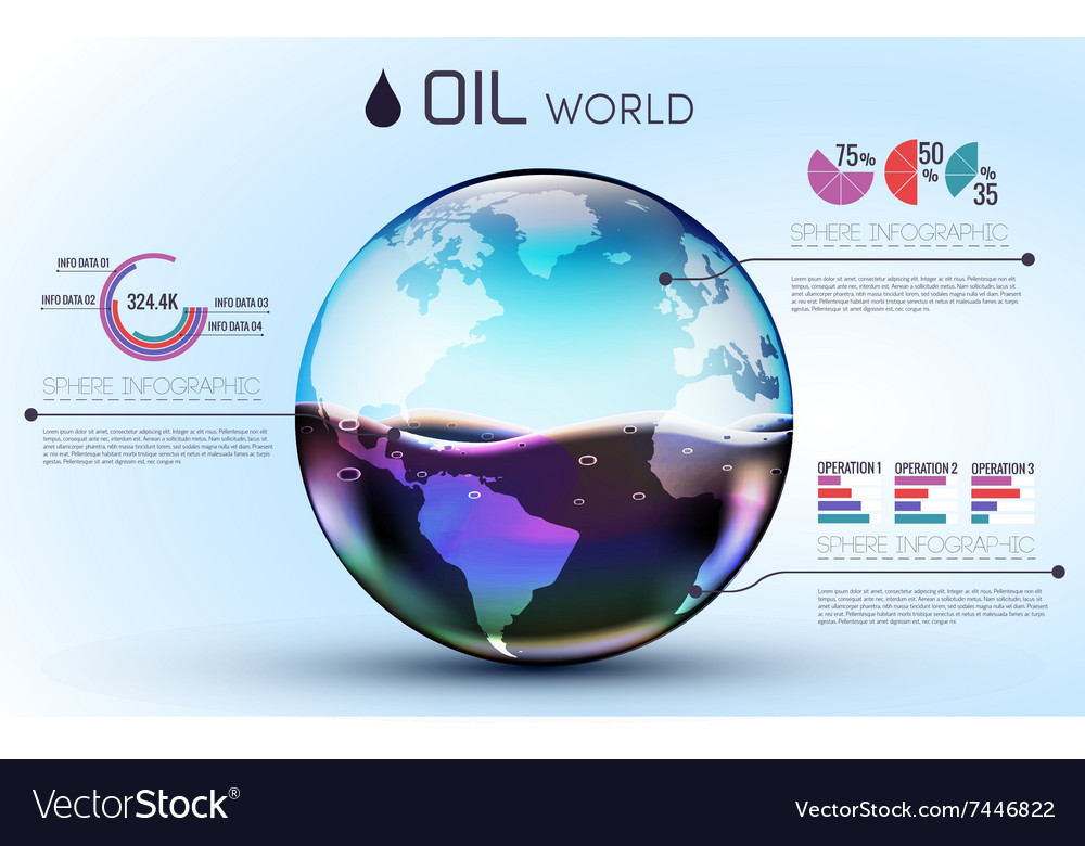 Glasses world oil background infographic concept vector