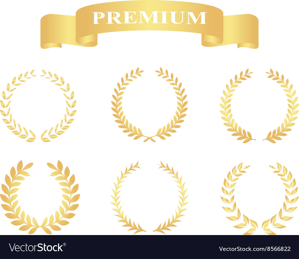 Set gold floral wreaths template for wedding vector