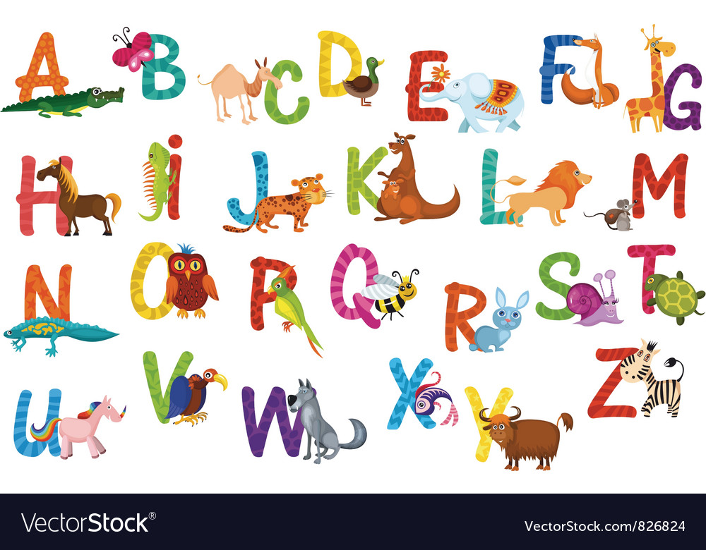 Animals alphabet vector