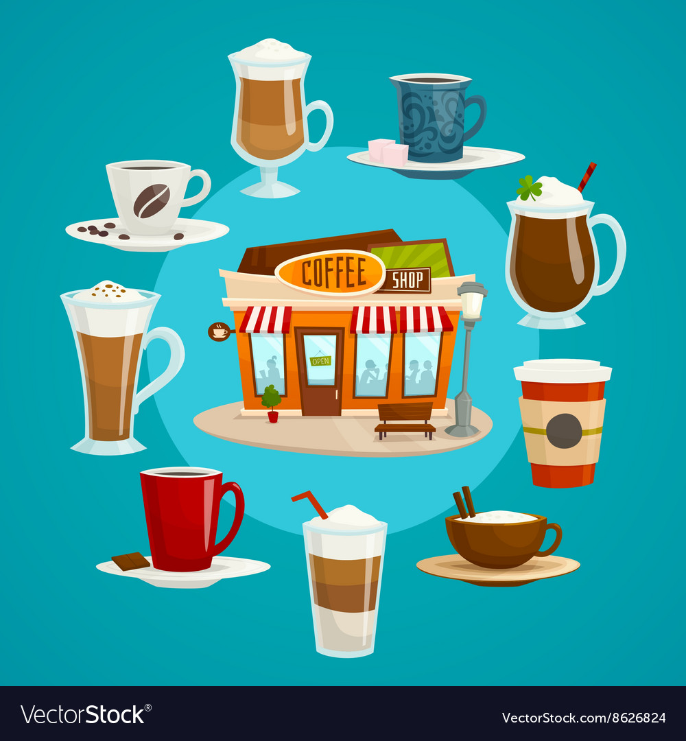 Coffee shop concept with different kinds of coffee vector