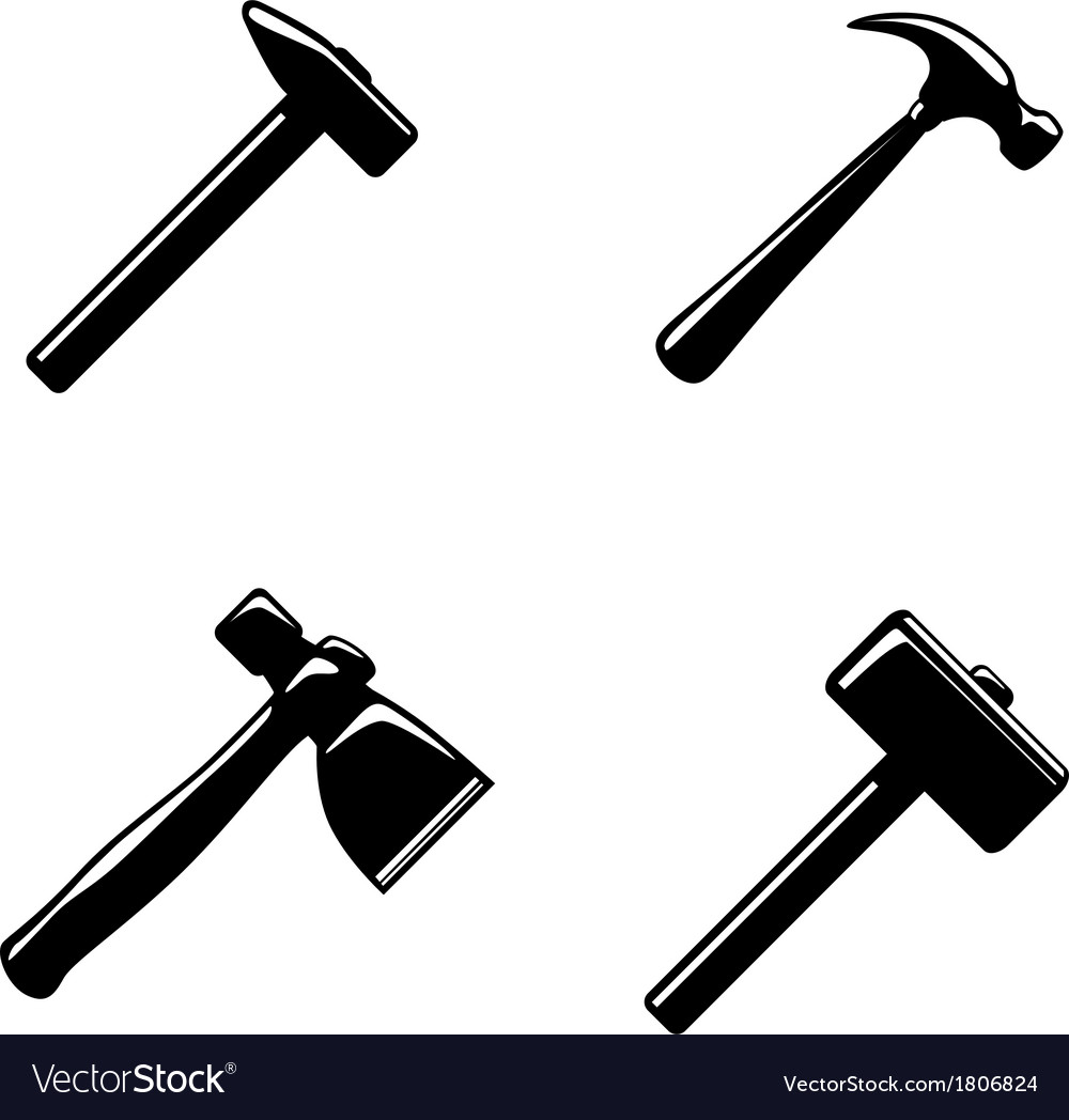 Hammer icons set vector