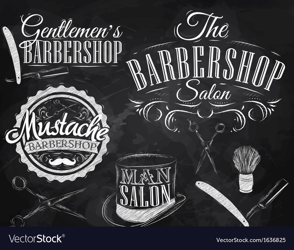 Barbershop set chalk vector