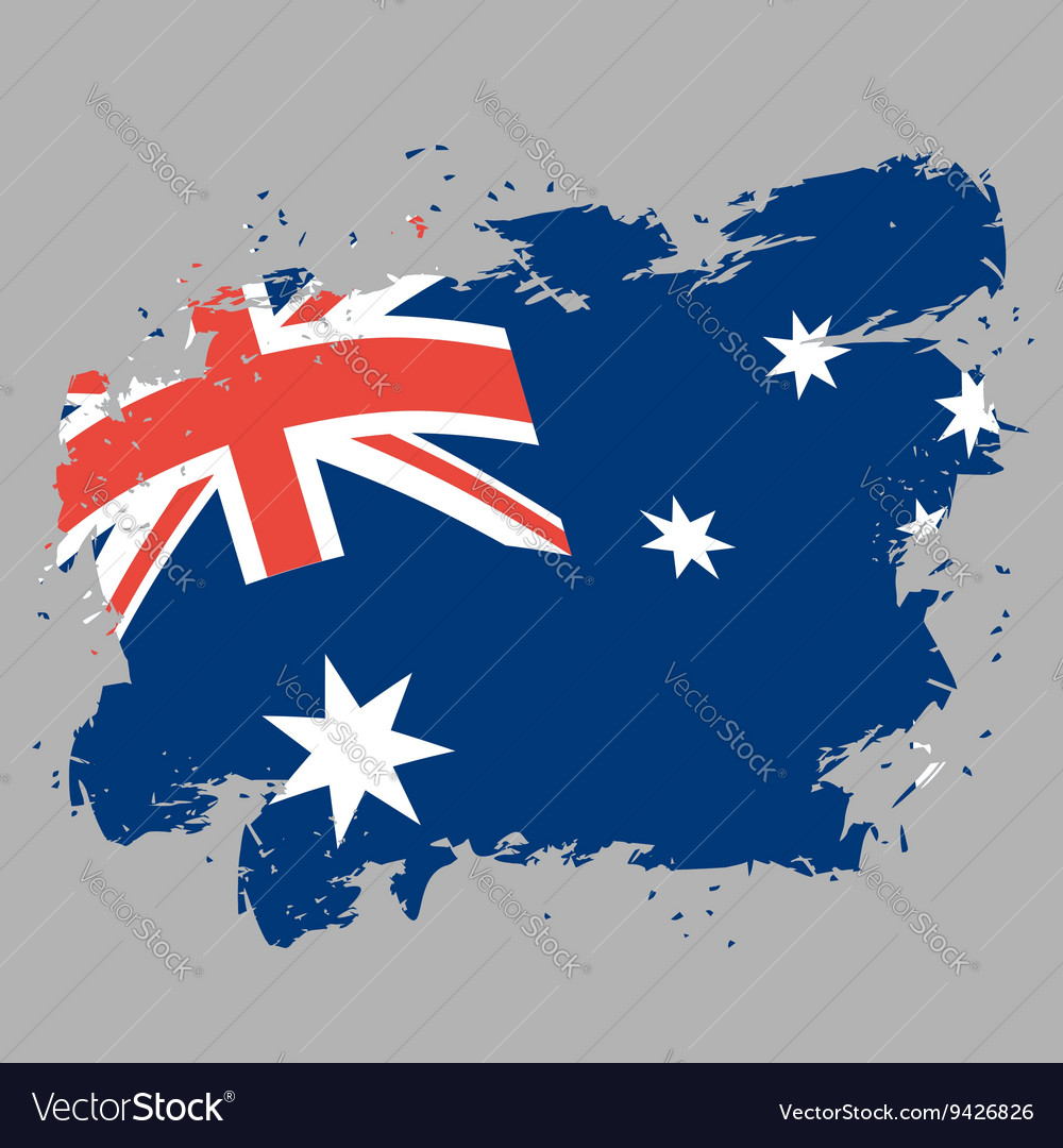 Australia flag grunge style on gray background vector