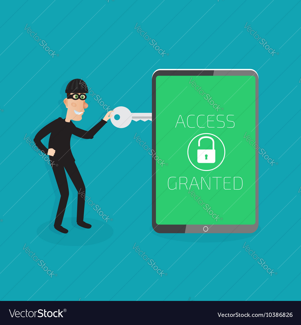 Protection against hacker concept vector