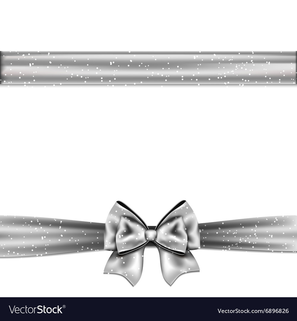 Silver satin bow on white background vector