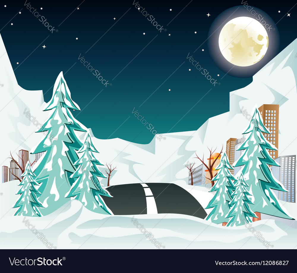 Night winter road to city2 vector