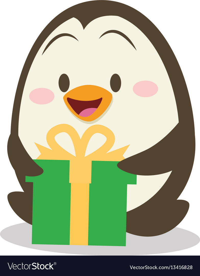 Penguin with gift design vector