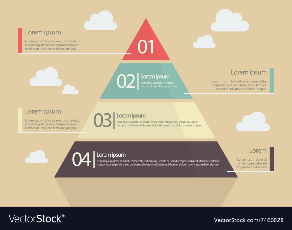 Pyramid chart flat style infographic vector