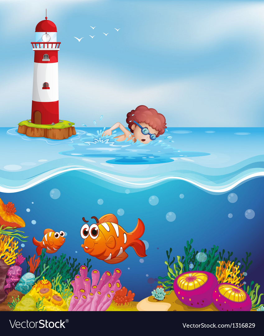 A boy swimming with fishes and corals at the beach vector