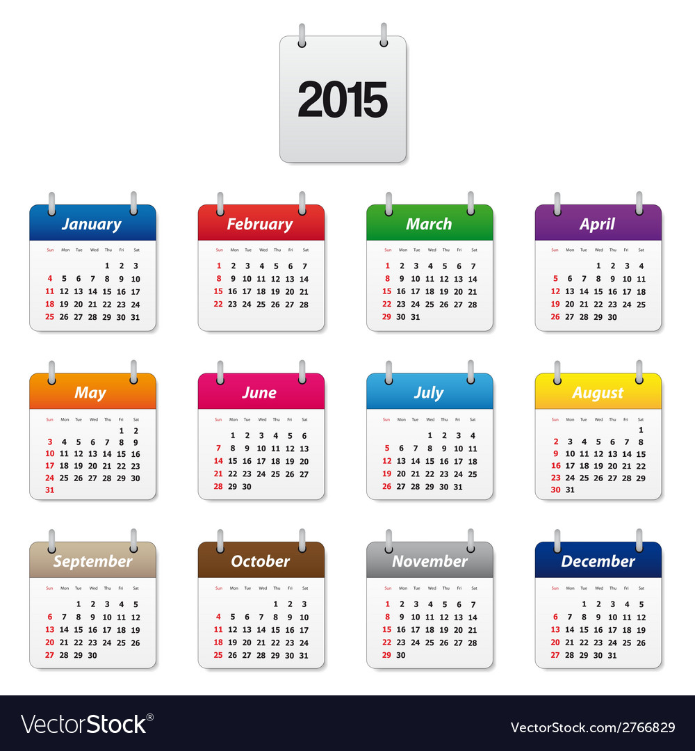 Colorful calendar 2015 vector