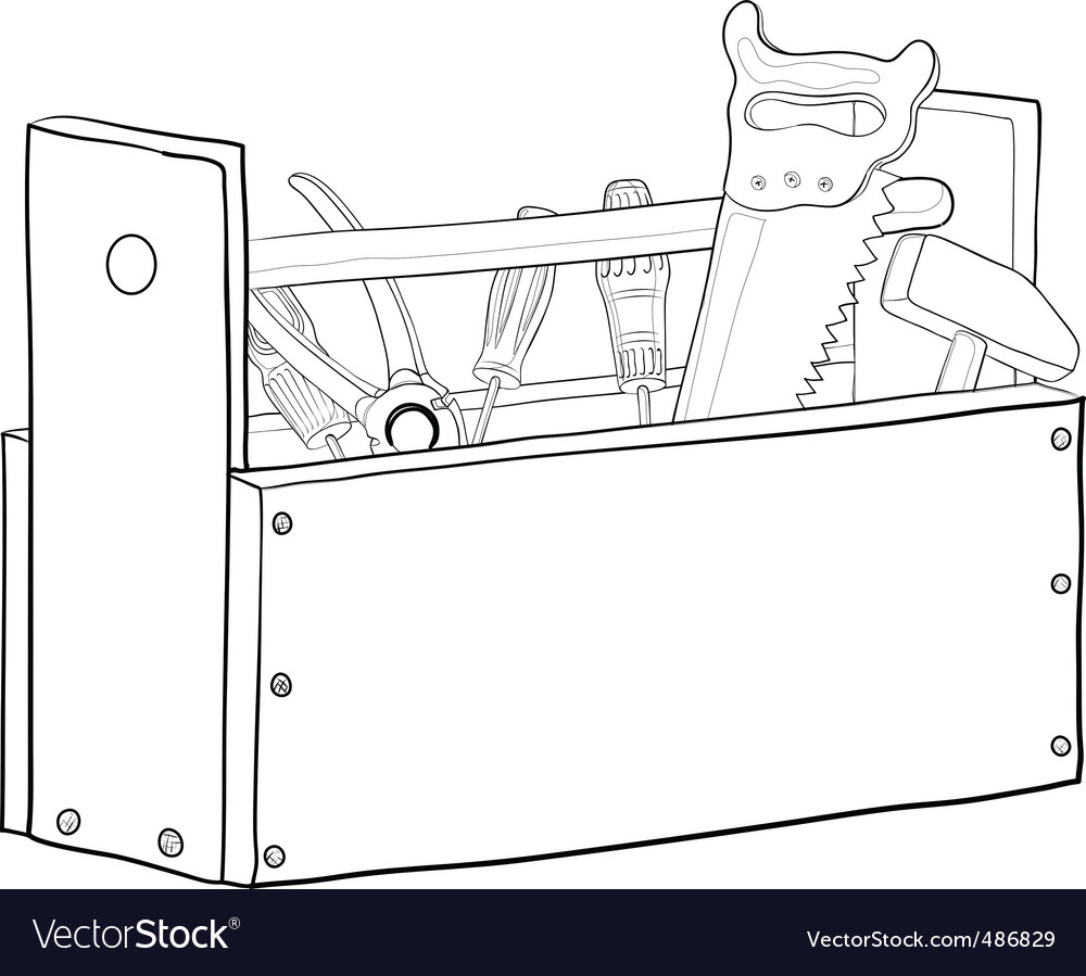 Tool box contours vector