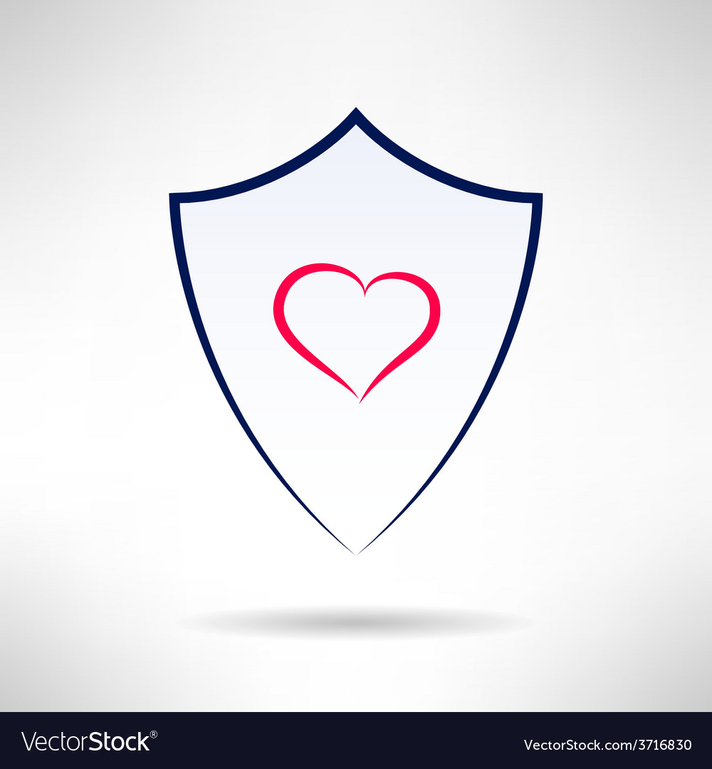 Heart and love simple shield icon vector
