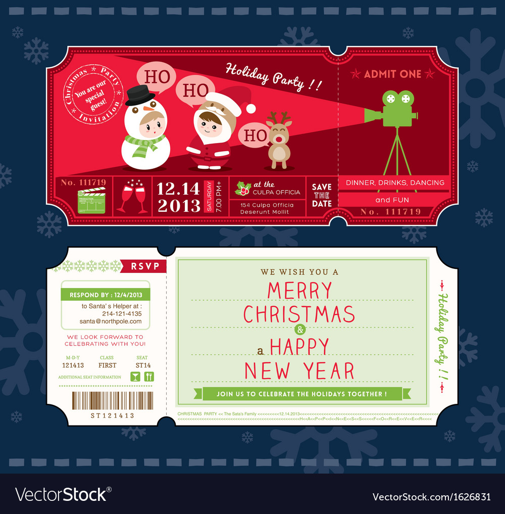 Christmas party cartoon ticket card template vector