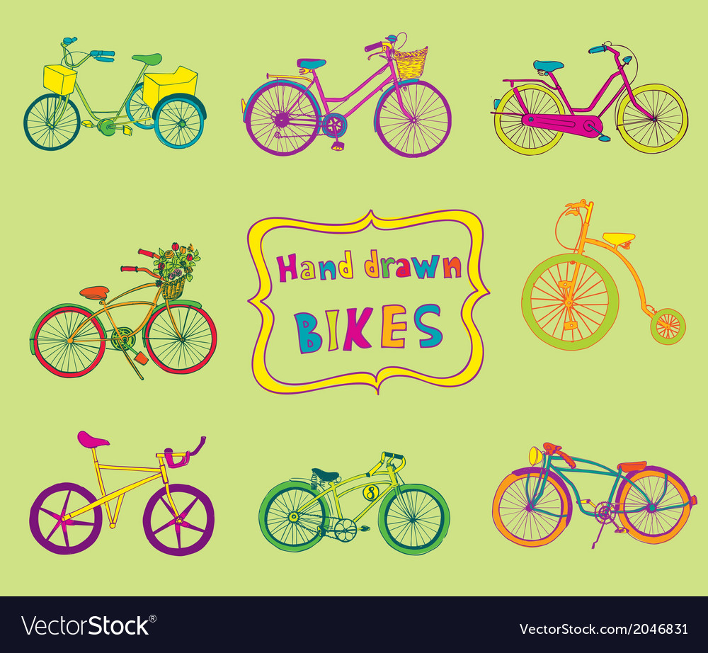 Doodle bicycles  hand drawn vector