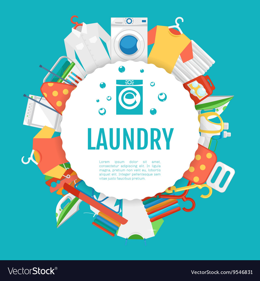 Laundry service poster design icons circle label vector