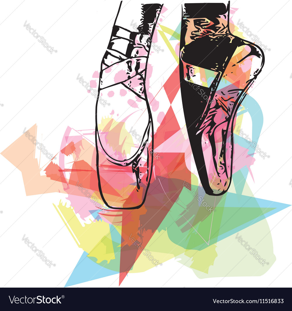 Abstract ballet pointe shoes vector