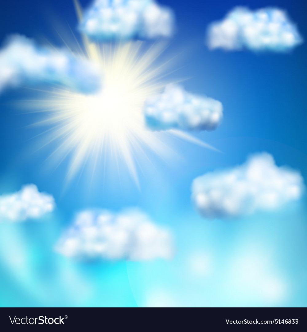 Sun in the blue sky eps 10 vector